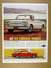 1963 Corvair Monza Convertible white car photo vintage print Ad