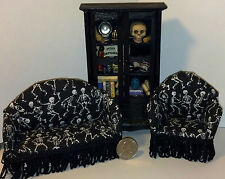 Dollhouse Miniature Halloween Sofa & Chair  Living Room Set & Cabinet 1:12 1inch