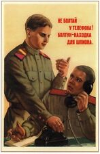*WW2 Russian Soviet Color POSTER Propaganda Do Not Chatter On Phone!    Buy Now!
