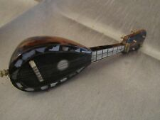 Antique Miniature Faux Tortoiseshell Mandolin Mother of pearl bovine Inlay 1900