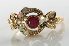 VINTAGE INS 9CT 9K YELLOW GOLD SUN MOON CREST INDIAN RUBY OPAL & PEARL RING