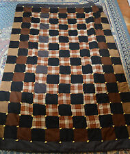 AMISH HANDMADE WOOL PATCHWORK COMFORTER KNOTTED CORNERS