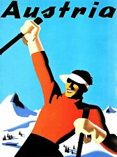 ART PRINT POSTER TRAVEL TOURISM WINTER SPORT SKI SNOW ALPINE AUSTRIA NOFL1278