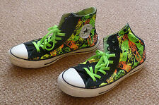 Black/Neon Converse Chuck Taylor All Star 7 high/hi tops trainers baseball boots