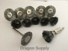 "12pc Combo Set 7/8""Steel Wire Wheel + 3/4"" Cup Brushes Dremel Die Grinder Rotary"