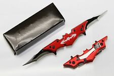 Red BATMAN Dark Knight Spring Assisted Dual Blade Folding Pocket Knife Tactical
