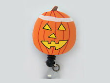 PUMPKIN Halloween Retractable ID Badge Reel/Card Holder/Keychain Key Ring Orange