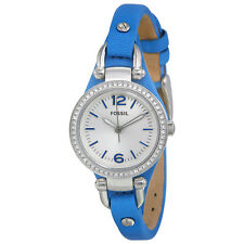 Fossil Georgia Mini Blue Leather Strap Ladies Watch ES3474