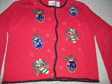 Paul Harris Beautiful Ugly Christmas Holiday Embellished Cardigan Sweater Size L