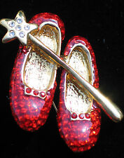 WIZARD OF OZ WAND DOROTHY RUBY RED SHOES SHOE SLIPPER SLIPERS PIN BROOCH 1 1/2""