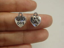 15 love my dog paw pendant charm tibetan silver antique style wholesale craft