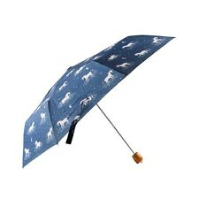 Navy Blue Starlight Unicorn Folding Compact Rain Umbrella