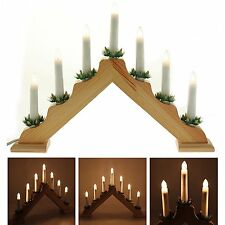7 Candles Pre-Lit Wooden Triangle Candle Bridge Table Decoration - 41 cm
