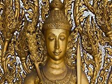 PRINT POSTER PHOTO STATUE THAILAND GOLD ORNATE FIGURE MOSAIC FACE HEAD LFMP0083