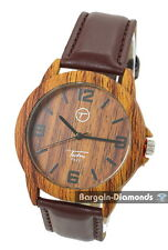 mens  wood tone look sports clubbing watch designer Techno brown strap