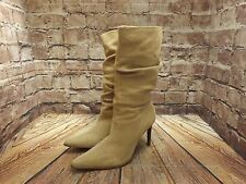 Ladies Faith Sand Suede Pull On High Heel Mid Calf Boots Size UK 5
