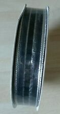 15mm wide silver and black organza ribbon x 22.8 metres NEW