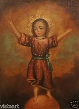 Cuzco Religious Oil Painting Peruvian Folk Art 11x15 Holy Child w/ Arms Extended