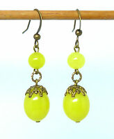 Vintage 1930s yellow Vaseline glass bead earrings to match art deco necklaces