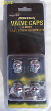 Skull Chrome Valve Caps set of 4 for cars Brand NEW
