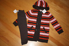 NWT Janie Jack AUTUMN CLASSICS sz 4T hooded sweater cardigan duster & leggings