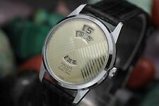 Vintage LOUVIC Vista-Time 17 Jewel Digital Jump Hour Fancy Dial Mens Dress Watch