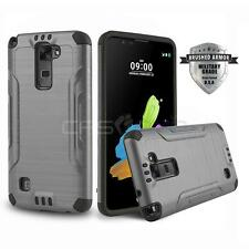 GUN METAL BRUSHED ARMOR SHOCKPROOF HYBRID COVER PHONE CASE FOR LG G STYLO 2 V
