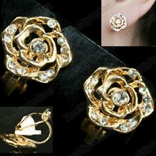 CLIP ON gold fashion CRYSTAL ROSE vintage antique style EARRINGS rhinestone