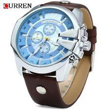 Curren Herren Armbanduhr Quarz Chronograph extravagant Lederband silber blau