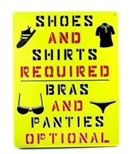 "Funny Sign Prank  (Tin) 11.5"" X 8""    shoes and shirt,  metal sign joke"