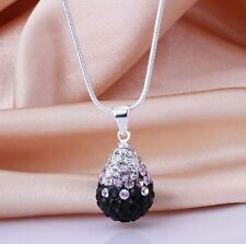 "925 Sterling Silver Necklace with SHAMBALLA CRYSTAL DROP PENDANT 17"" Chain"