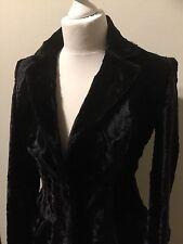 Black Velvet Pony Skin Coat Karen Millen Size U.K. 8