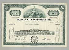 Quaker City Industries Inc. – Aktie, 100 Shares, New York, von 1968