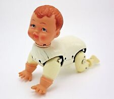 Vintage Tin Rubber Crawling Baby Doll Battery Operated Toy Made In Japan
