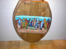 HAND PAINTED LONG BOARDS ON BEACH  OAK TOILET SEAT