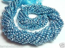 """Full 13"""" strand metallic blue coated PYRITE faceted gem stone rondelle beads 4mm"""