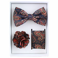 New in box Brand Q Men's bowtie hankie lapel pin 3 piece set red navy paisley