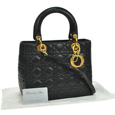 Auth Christian Dior Lady Dior Cannage 2way Hand Bag Black Leather Italy JT04192