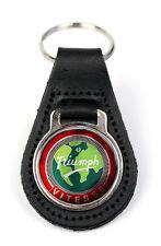 Triumph Vitesse Globe Logo Quality Black Leather Keyring