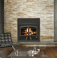 Flame Monaco FL-063 EPA Zero Clearance Wood Burning Fireplace with Black Louvers