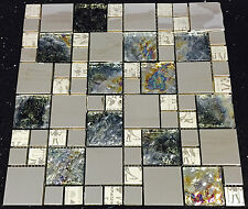 Silver Glass Stainless Steel Mosaic Tiles Random Modular Sheet 073-42