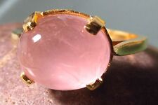 Gold plated brass everyday rose quartz stone ring UK R/US 8.75
