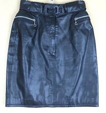 Tannery West Belted Black Leather Pencil Skirt Front Zipper & Pockets Size 6
