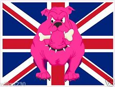 2x england Pink British bulldog stickers Union Jack flag decals adhesive vinyl