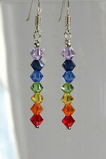 Stunning STERLING SILVER 925 EARRINGS Rainbow CRYSTAL SWAROVSKI Elements UNUSUAL