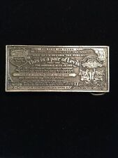 RARE VINTAGE 1975 LEVI'S Strauss And co. Jeans PAPER TAG BELT BUCKLE Cool!