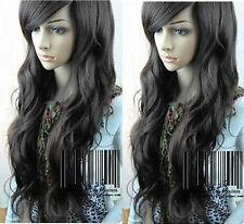 100% Echthaar Lang Natürliche Schwarz Gewellt Perücke Mode Damen Perücken Wig