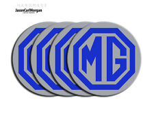 MG ZR ZS ZT Alloy Wheel Centre Caps Badges Blue Silver 80mm Logo Cap Badge Set