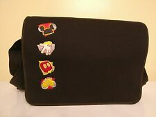 New Authentic Adult Mickey Mouse Black Embroidered Nylon Handbag Messenger bag