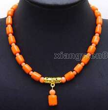 SALE Big 10-11mm Pink Natural Thick Slice and 5-6mm coral 17'' Necklace-nec5930